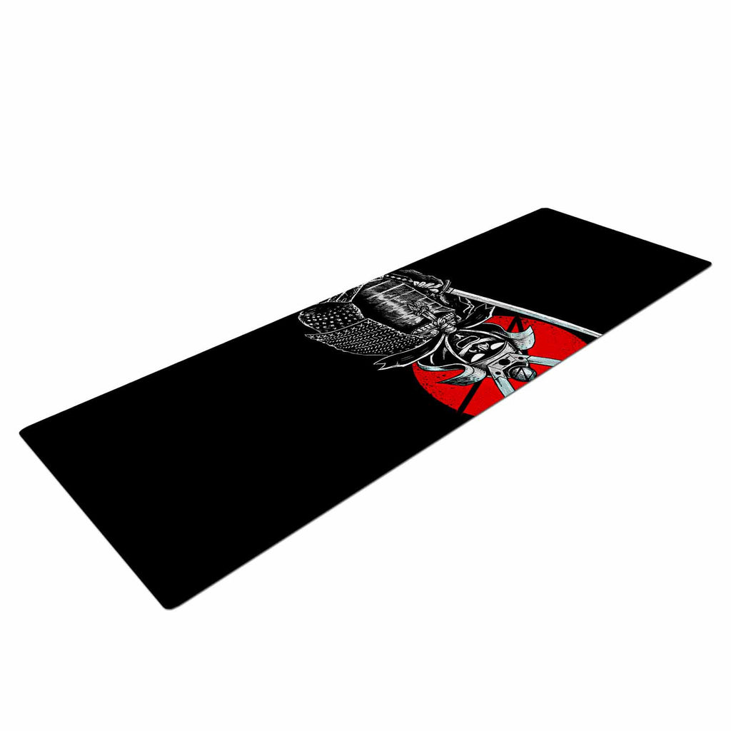"BarmalisiRTB ""SamuraiZ"" Red White Digital Yoga Mat - KESS InHouse  - 1"