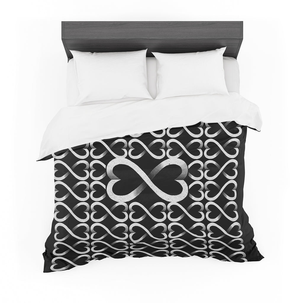 "BarmalisiRTB ""Love Infinity"" Black White Digital Featherweight Duvet Cover - KESS InHouse  - 1"