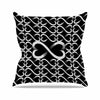 "BarmalisiRTB ""Love Infinity"" Black White Digital Outdoor Throw Pillow - KESS InHouse  - 1"