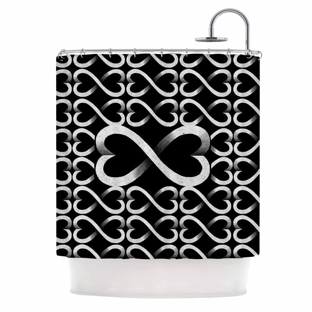 "BarmalisiRTB ""Love Infinity"" Black White Digital Shower Curtain - KESS InHouse"
