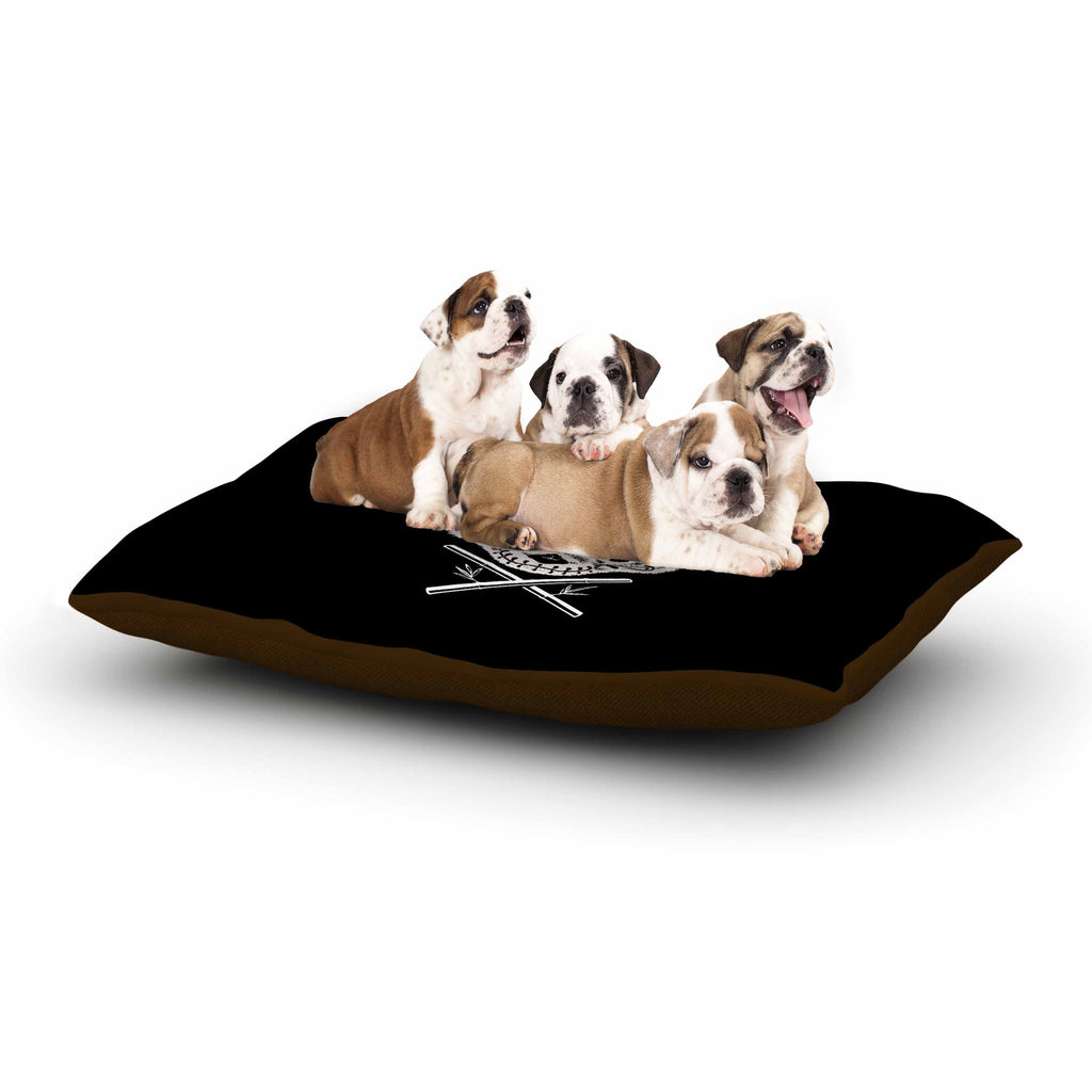 "BarmalisiRTB ""Panda De La Muerte"" Black White Digital Dog Bed - KESS InHouse  - 1"