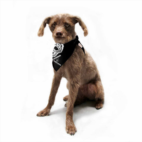 "BarmalisiRTB ""Panda De La Muerte"" Black White Digital Pet Bandana - Outlet Item"