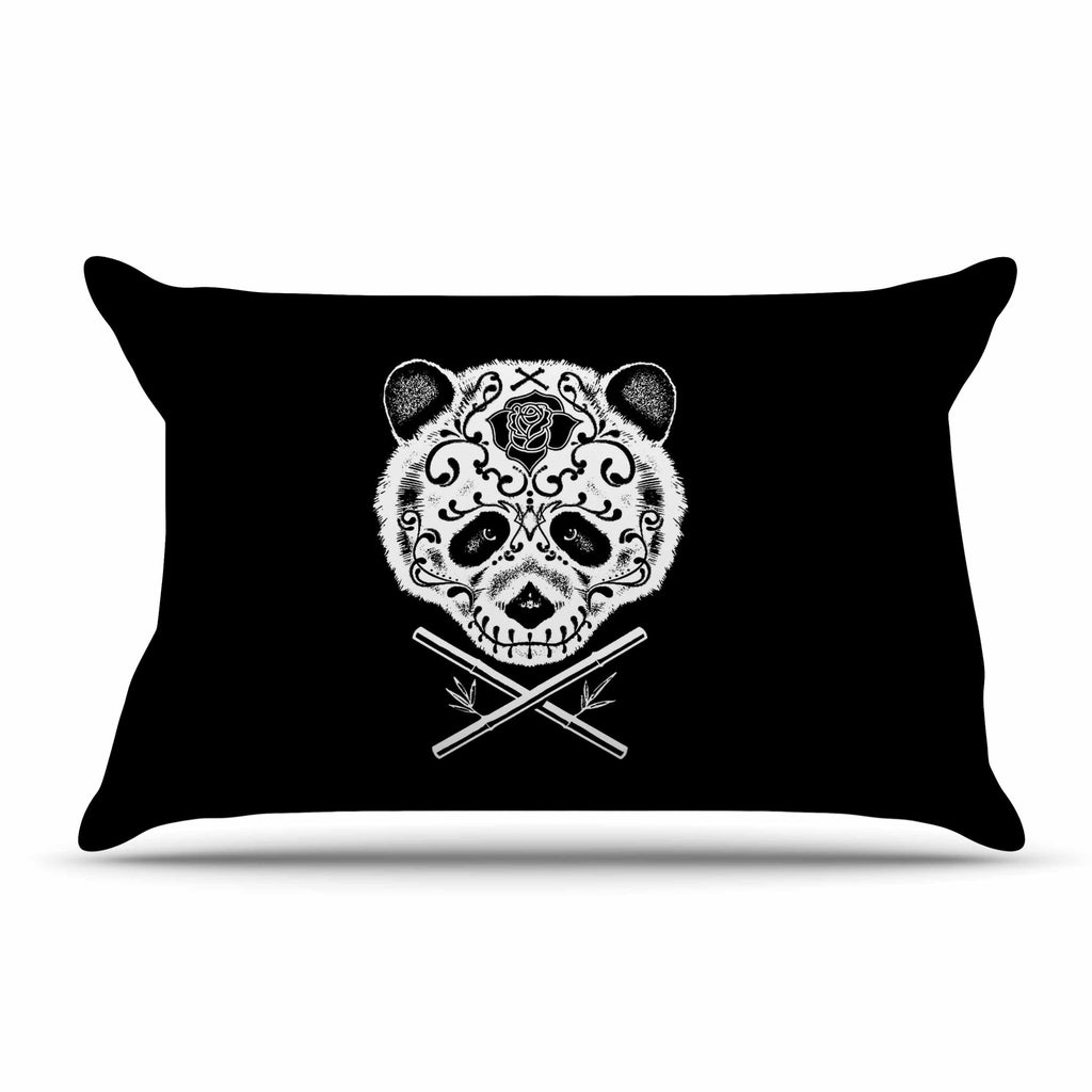 "BarmalisiRTB ""Panda De La Muerte"" Black White Digital Pillow Sham - KESS InHouse  - 1"