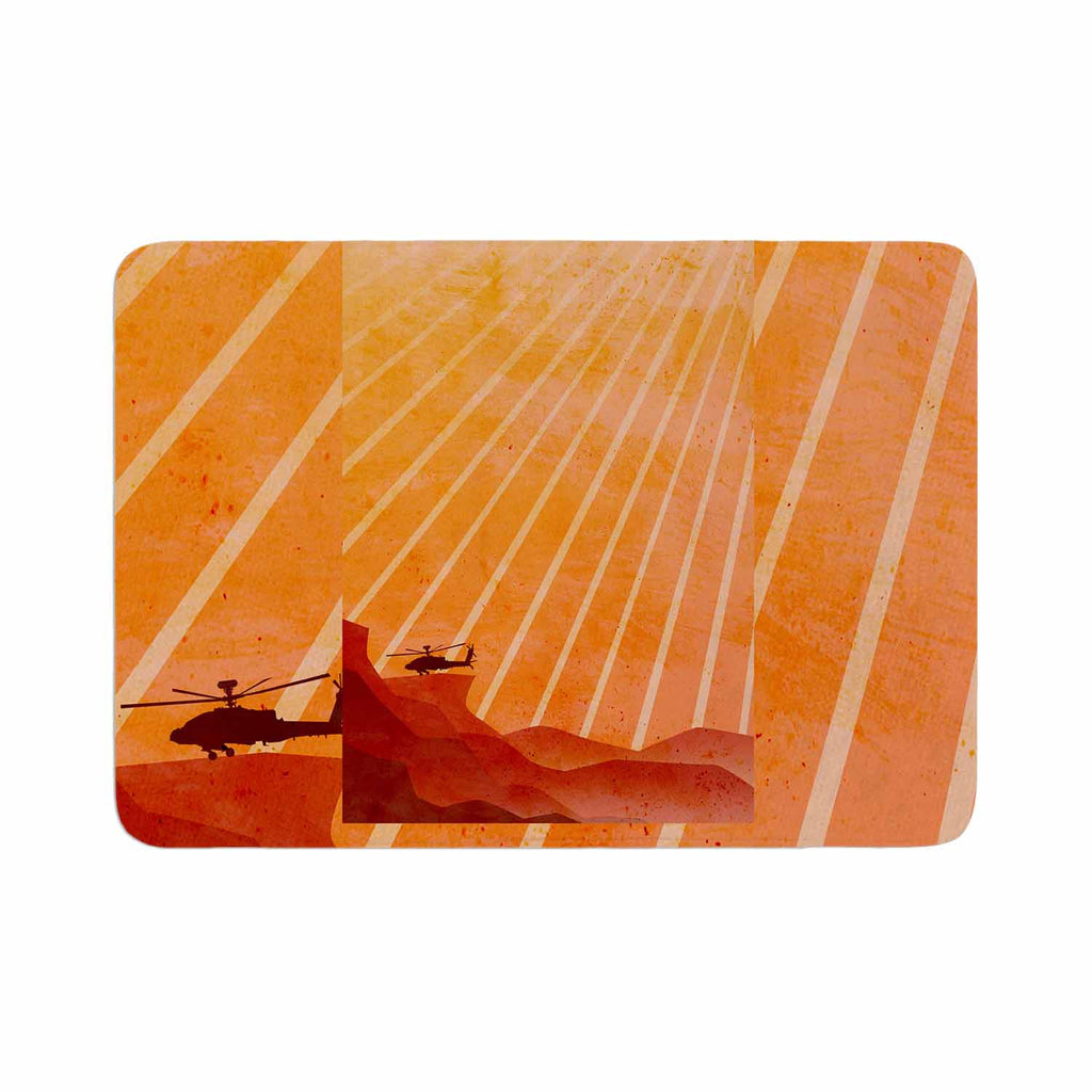 "BarmalisiRTB ""Landed"" Yellow Orange Illustration Memory Foam Bath Mat - KESS InHouse"