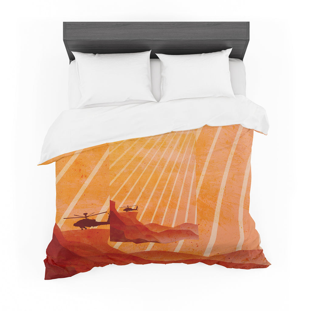 "BarmalisiRTB ""Landed"" Yellow Orange Illustration Featherweight Duvet Cover - KESS InHouse  - 1"