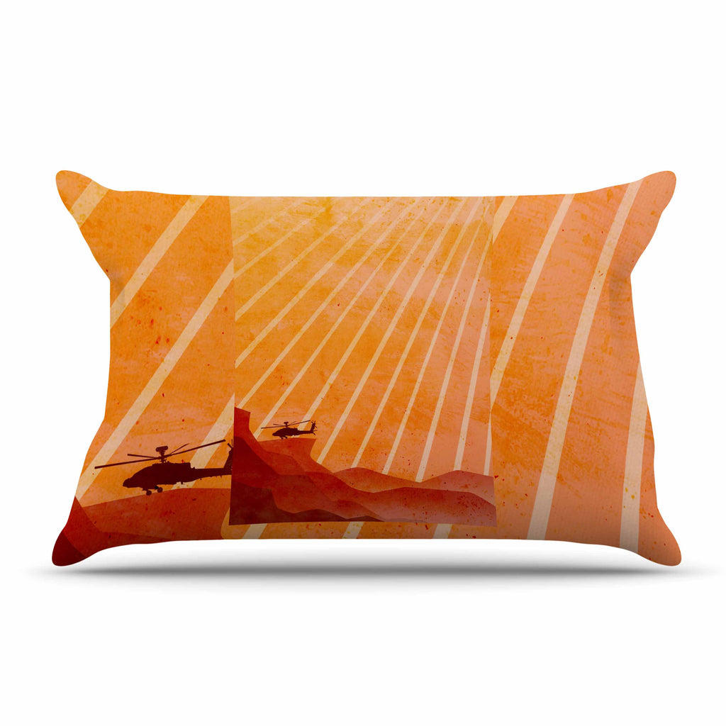 "BarmalisiRTB ""Landed"" Yellow Orange Illustration Pillow Sham - KESS InHouse  - 1"
