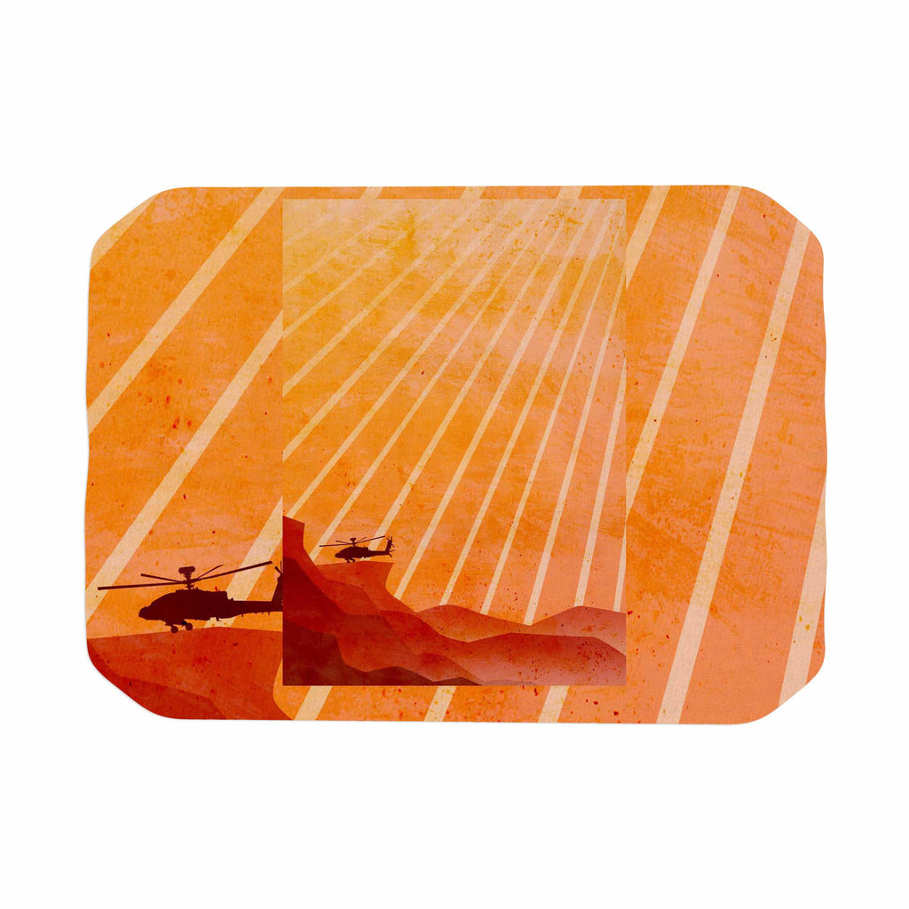 "BarmalisiRTB ""Landed"" Yellow Orange Illustration Place Mat - KESS InHouse"