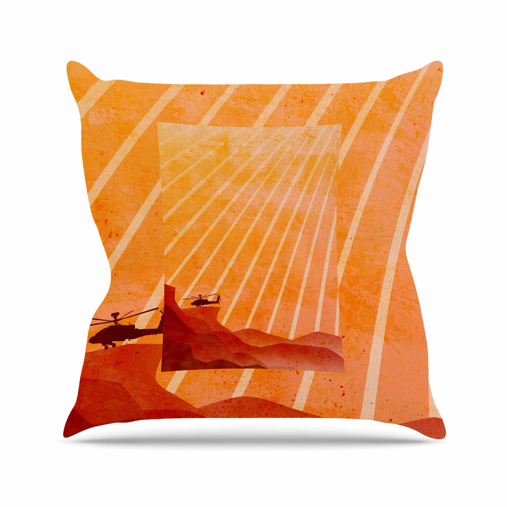 "BarmalisiRTB ""Landed"" Yellow Orange Illustration Outdoor Throw Pillow - KESS InHouse  - 1"