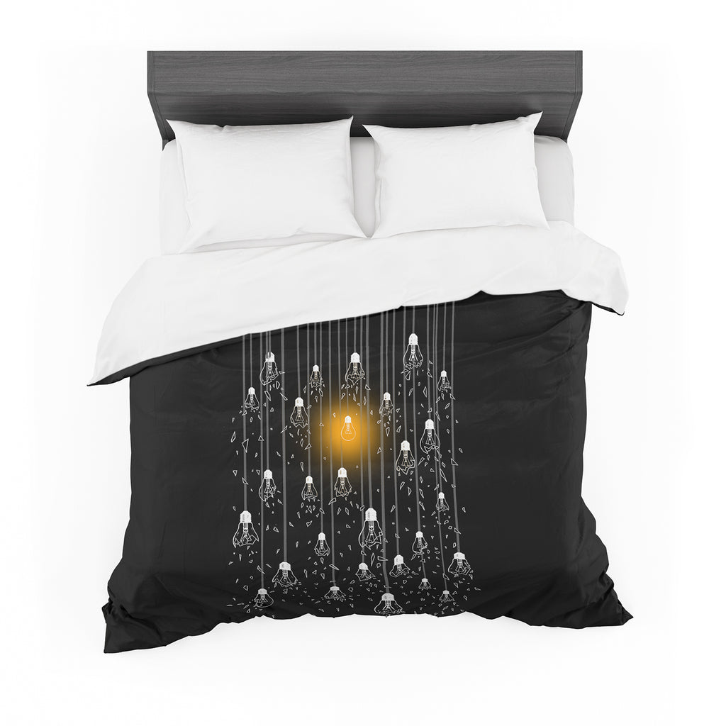 "BarmalisiRTB ""One Light"" Black White Digital Featherweight Duvet Cover - KESS InHouse  - 1"