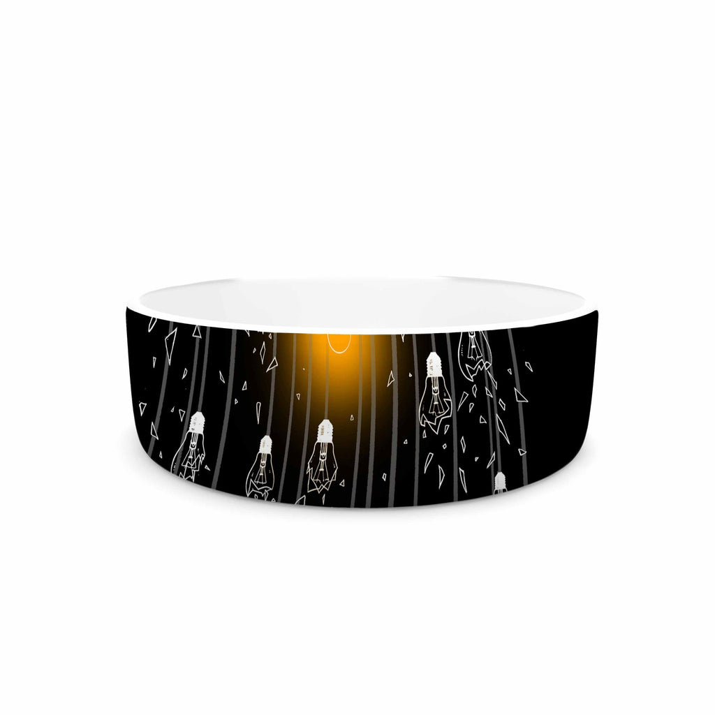 "BarmalisiRTB ""One Light"" Black White Digital Pet Bowl - KESS InHouse"