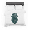 "BarmalisiRTB ""Mohawk Buffalo"" Green White Digital Featherweight Duvet Cover - KESS InHouse  - 1"