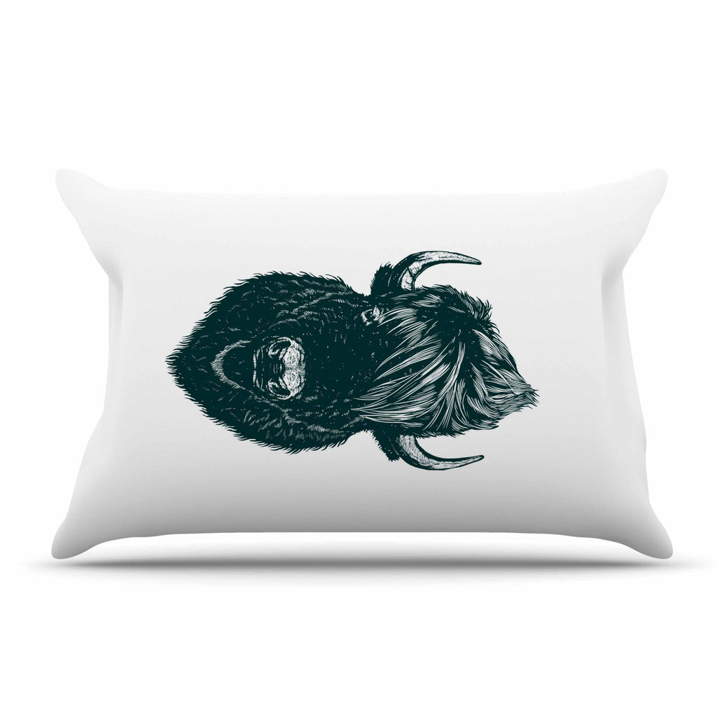 "BarmalisiRTB ""Mohawk Buffalo"" Green White Digital Pillow Sham - KESS InHouse  - 1"