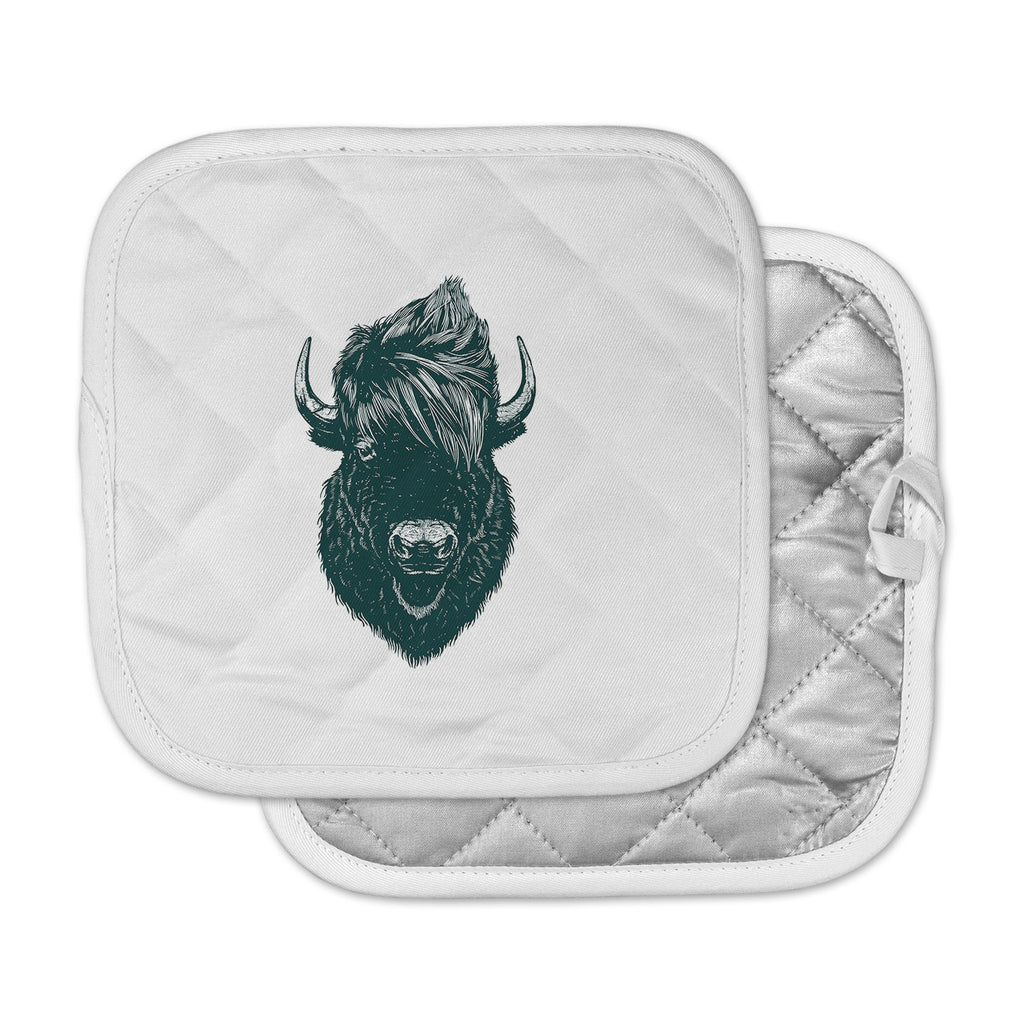 "BarmalisiRTB ""Mohawk Buffalo"" Green White Digital Pot Holder"