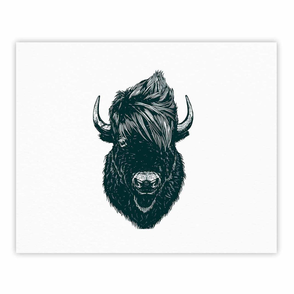 "BarmalisiRTB ""Mohawk Buffalo"" Green White Digital Fine Art Gallery Print - KESS InHouse"