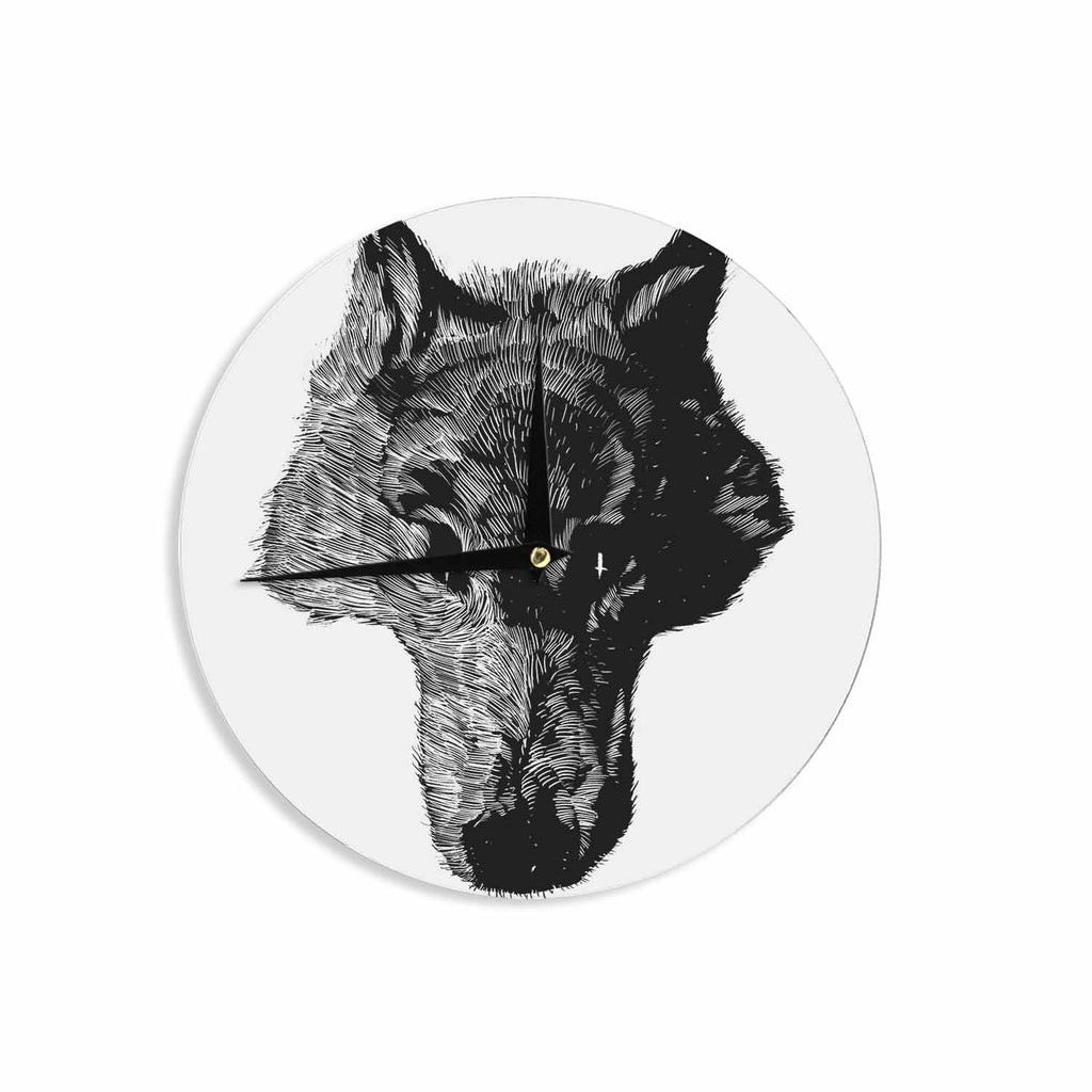 "BarmalisiRTB ""Black Head Coyote"" Black White Digital Wall Clock - KESS InHouse"