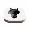 "BarmalisiRTB ""Black Head Coyote"" Black White Digital Coasters (Set of 4)"