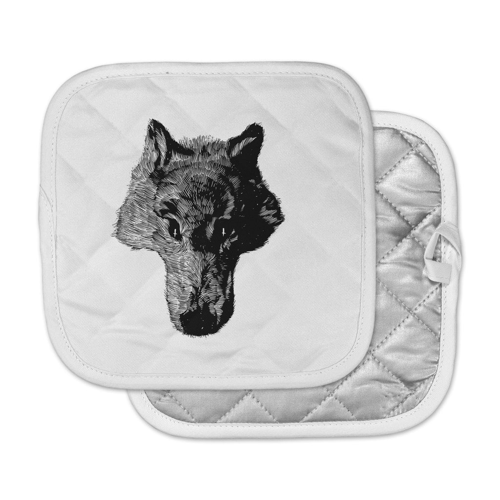 "BarmalisiRTB ""Black Head Coyote"" Black White Digital Pot Holder"