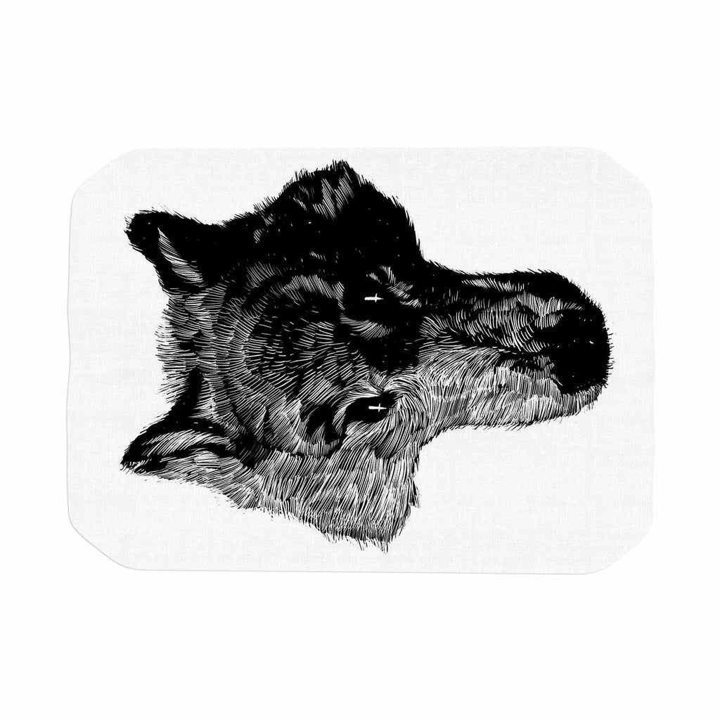 "BarmalisiRTB ""Black Head Coyote"" Black White Digital Place Mat - KESS InHouse"