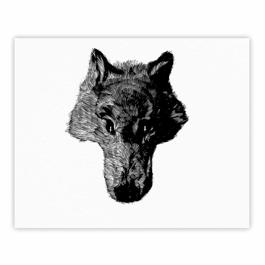 "BarmalisiRTB ""Black Head Coyote"" Black White Digital Fine Art Gallery Print - KESS InHouse"