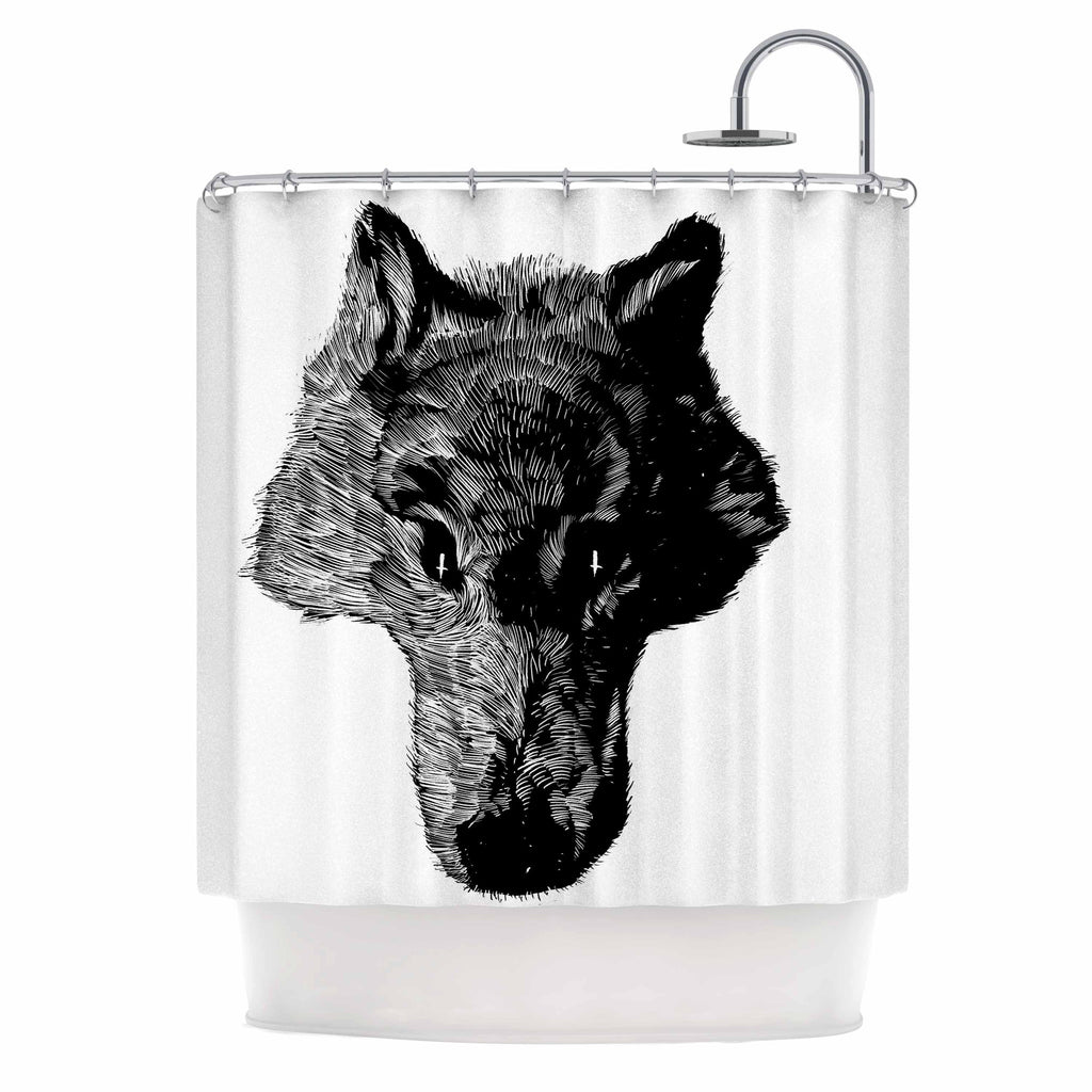 "BarmalisiRTB ""Black Head Coyote"" Black White Digital Shower Curtain - KESS InHouse"