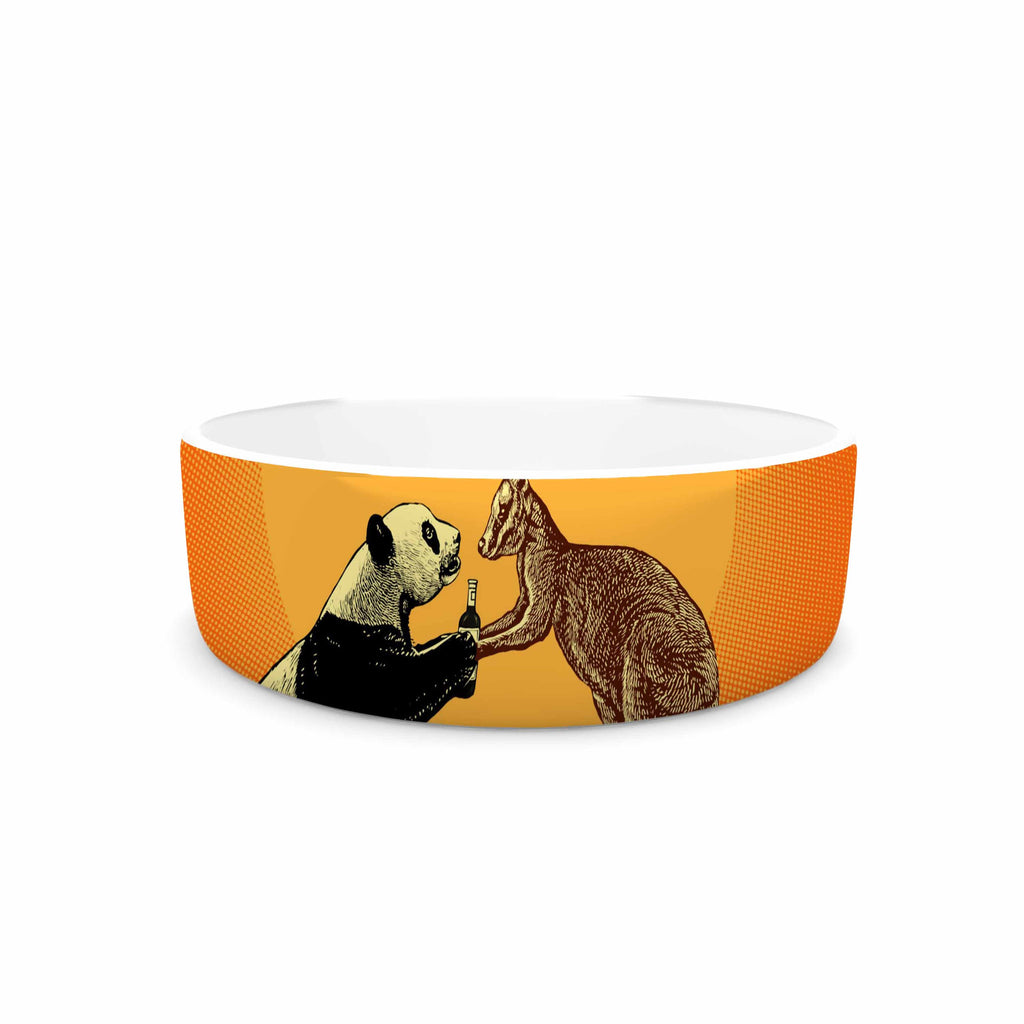 "BarmalisiRTB ""Snatch"" Orange Yellow Digital Pet Bowl - KESS InHouse"