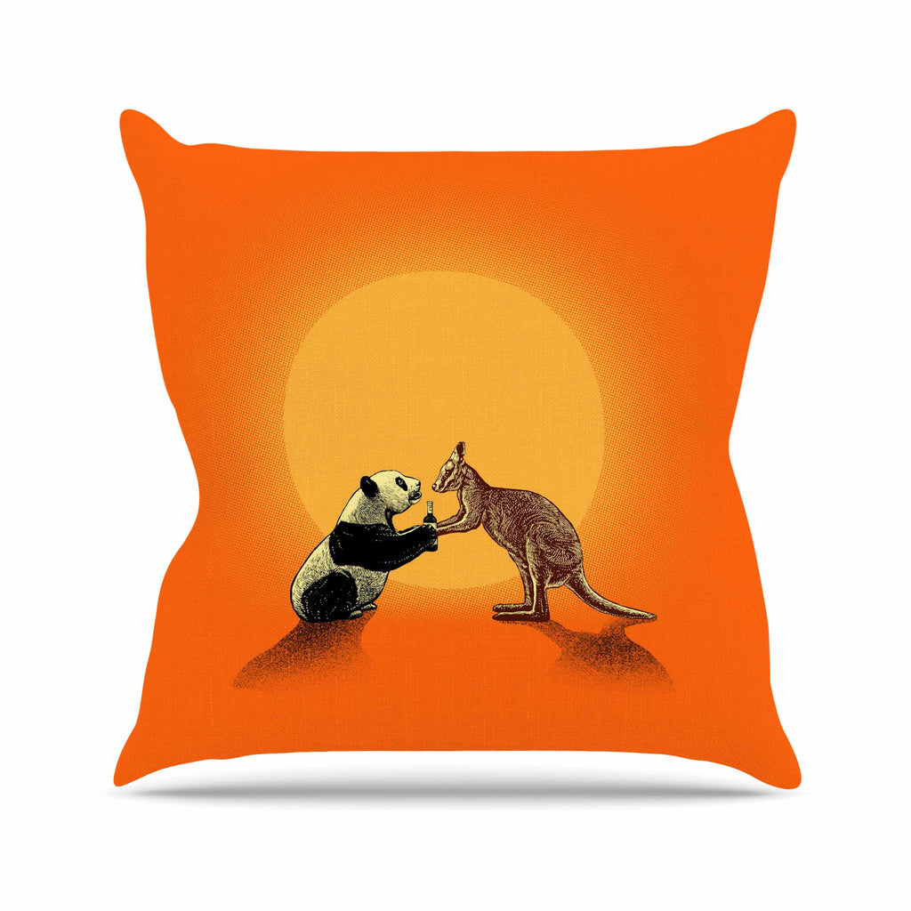 "BarmalisiRTB ""Snatch"" Orange Yellow Digital Outdoor Throw Pillow - KESS InHouse  - 1"