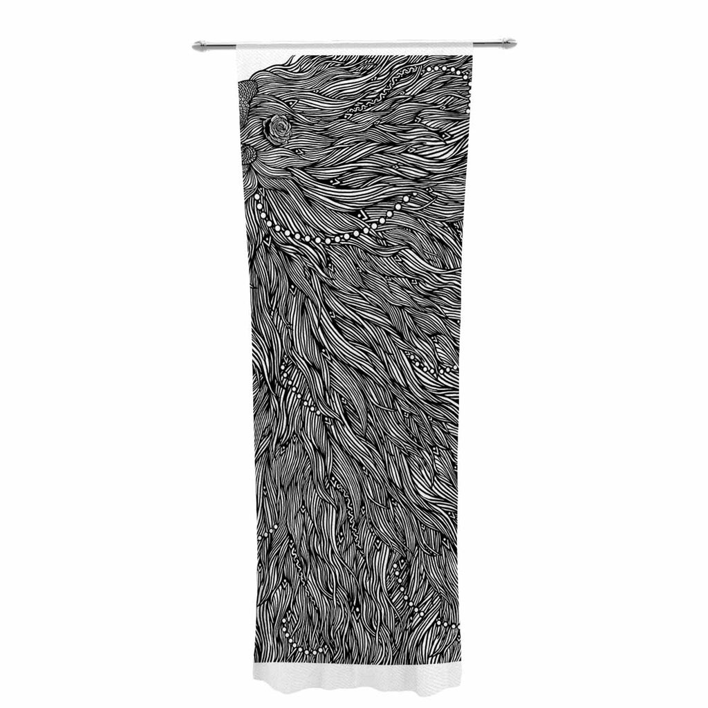 "BarmalisiRTB ""Bushy"" Black White Digital Decorative Sheer Curtain - KESS InHouse  - 1"