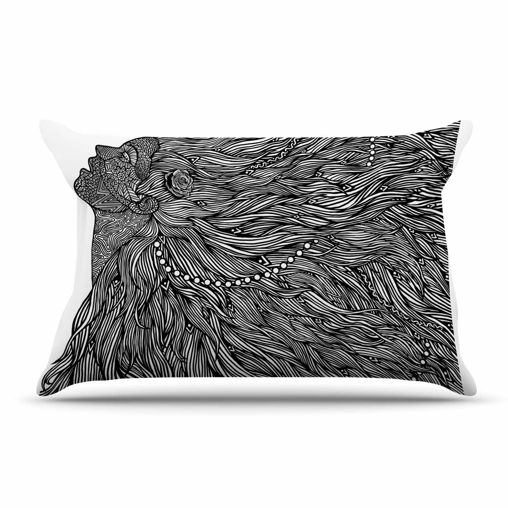 "BarmalisiRTB ""Bushy"" Black White Digital Pillow Sham - KESS InHouse  - 1"