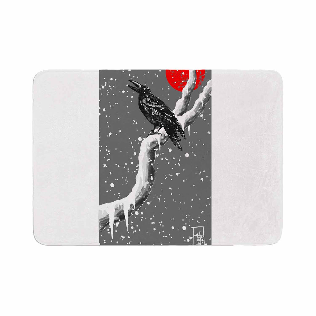 "BarmalisiRTB ""Winter Japan"" Black Gray Digital Memory Foam Bath Mat - KESS InHouse"
