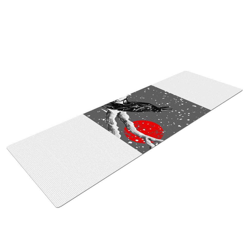 "BarmalisiRTB ""Winter Japan"" Black Gray Digital Yoga Mat - KESS InHouse  - 1"