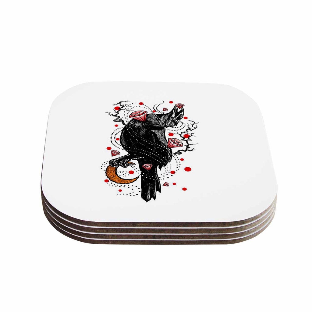 "BarmalisiRTB ""Crow Diamond"" Black Red Digital Coasters (Set of 4)"