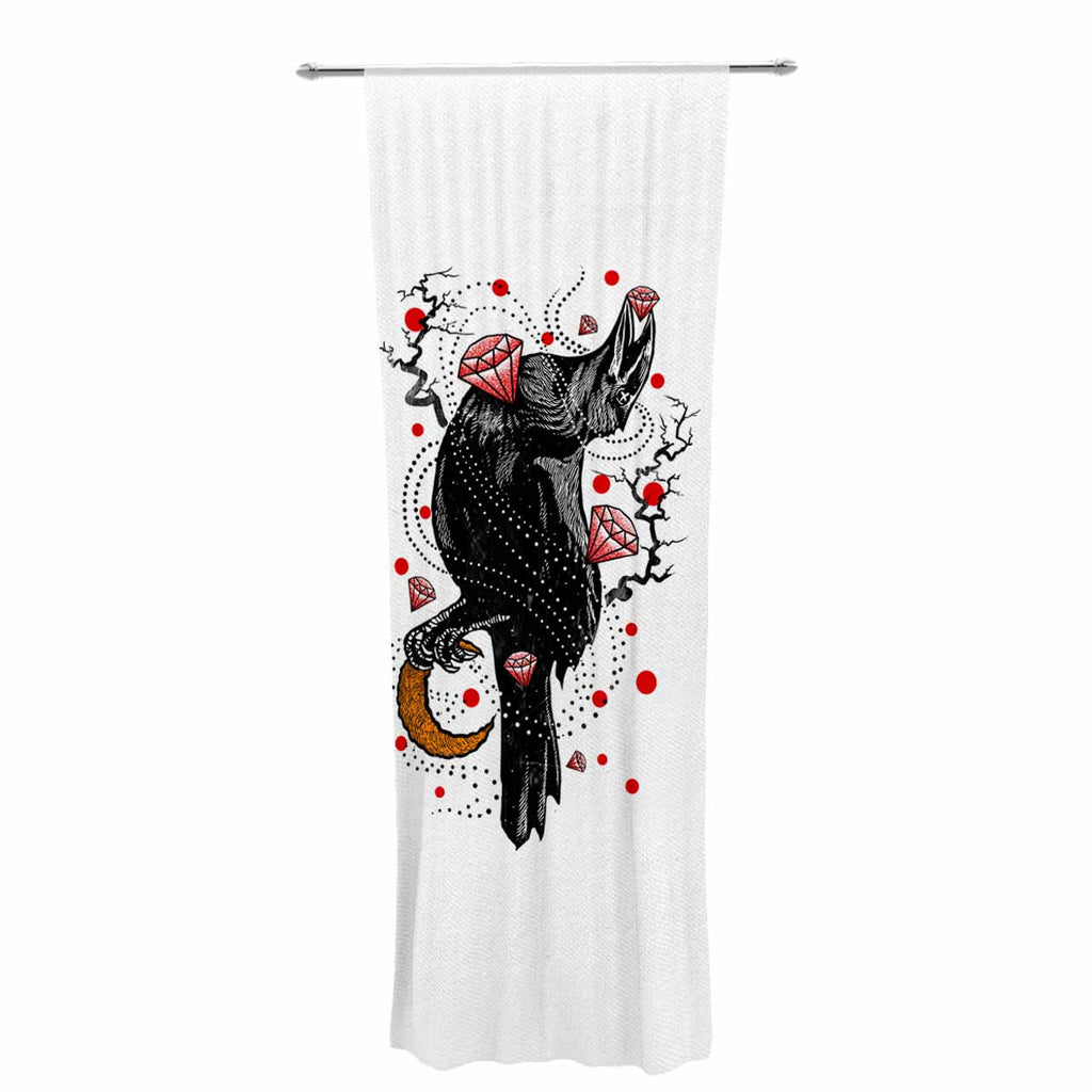 "BarmalisiRTB ""Crow Diamond"" Black Red Digital Decorative Sheer Curtain - KESS InHouse  - 1"