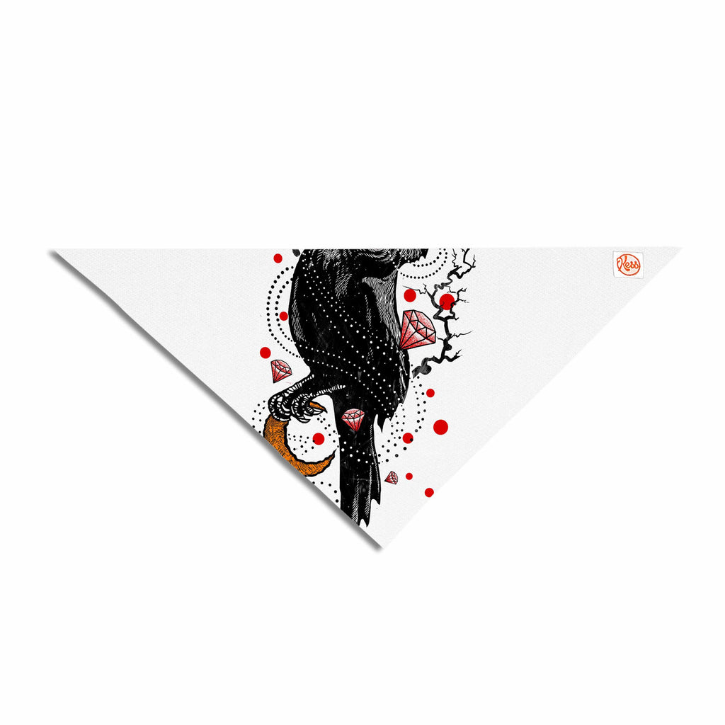 "BarmalisiRTB ""Crow Diamond"" Black Red Digital Pet Bandana - KESS InHouse  - 1"