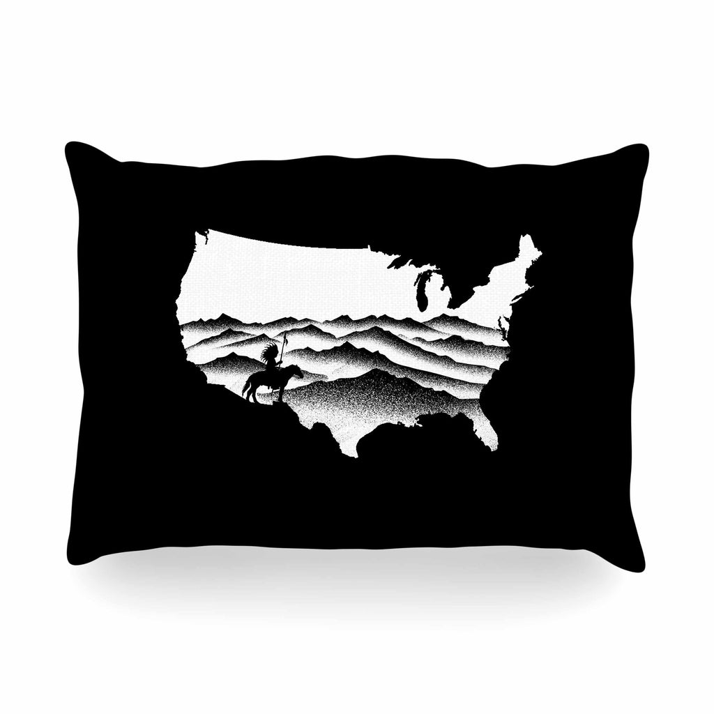 "BarmalisiRTB ""Native American"" Black White Digital Oblong Pillow"