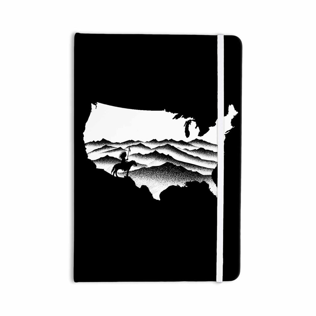 "BarmalisiRTB ""Native American"" Black White Digital Everything Notebook - KESS InHouse  - 1"