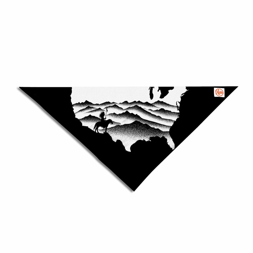 "BarmalisiRTB ""Native American"" Black White Digital Pet Bandana"
