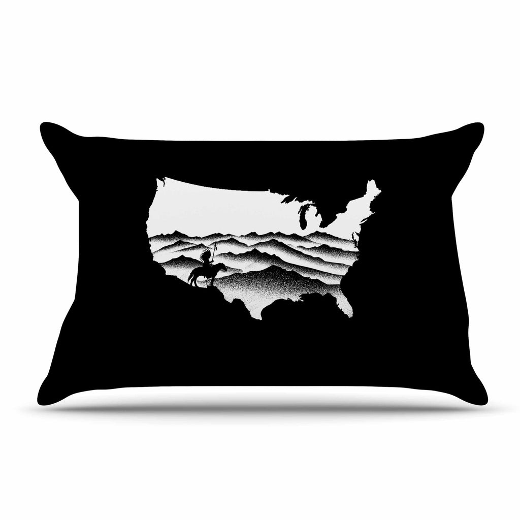 "BarmalisiRTB ""Native American"" Black White Digital Pillow Sham"