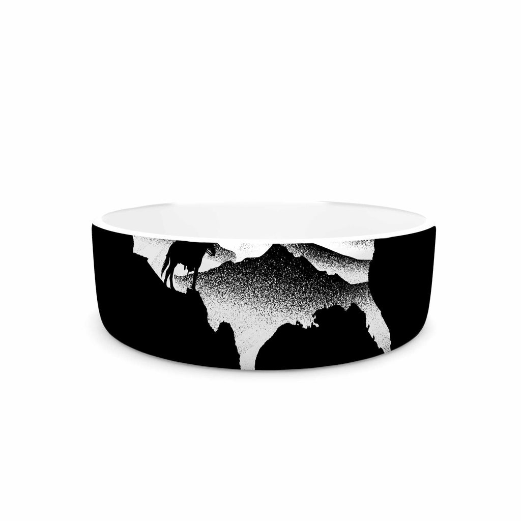 "BarmalisiRTB ""Native American"" Black White Digital Pet Bowl"