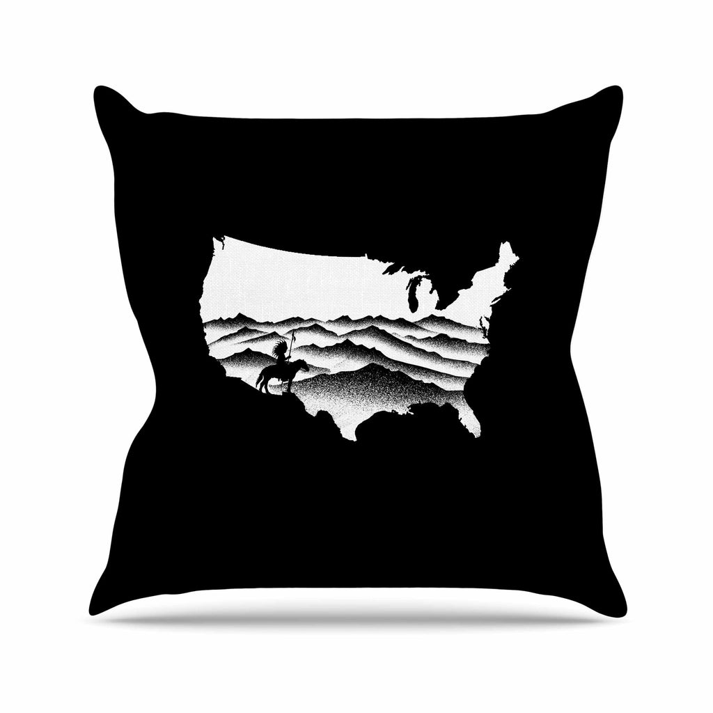 "BarmalisiRTB ""Native American"" Black White Digital Throw Pillow"