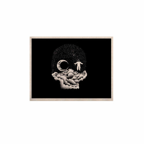 "BarmalisiRTB ""Space Skull"" Black White Illustration KESS Naturals Canvas (Frame not Included)"