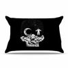 "BarmalisiRTB ""Space Skull"" Black White Illustration Pillow Sham"