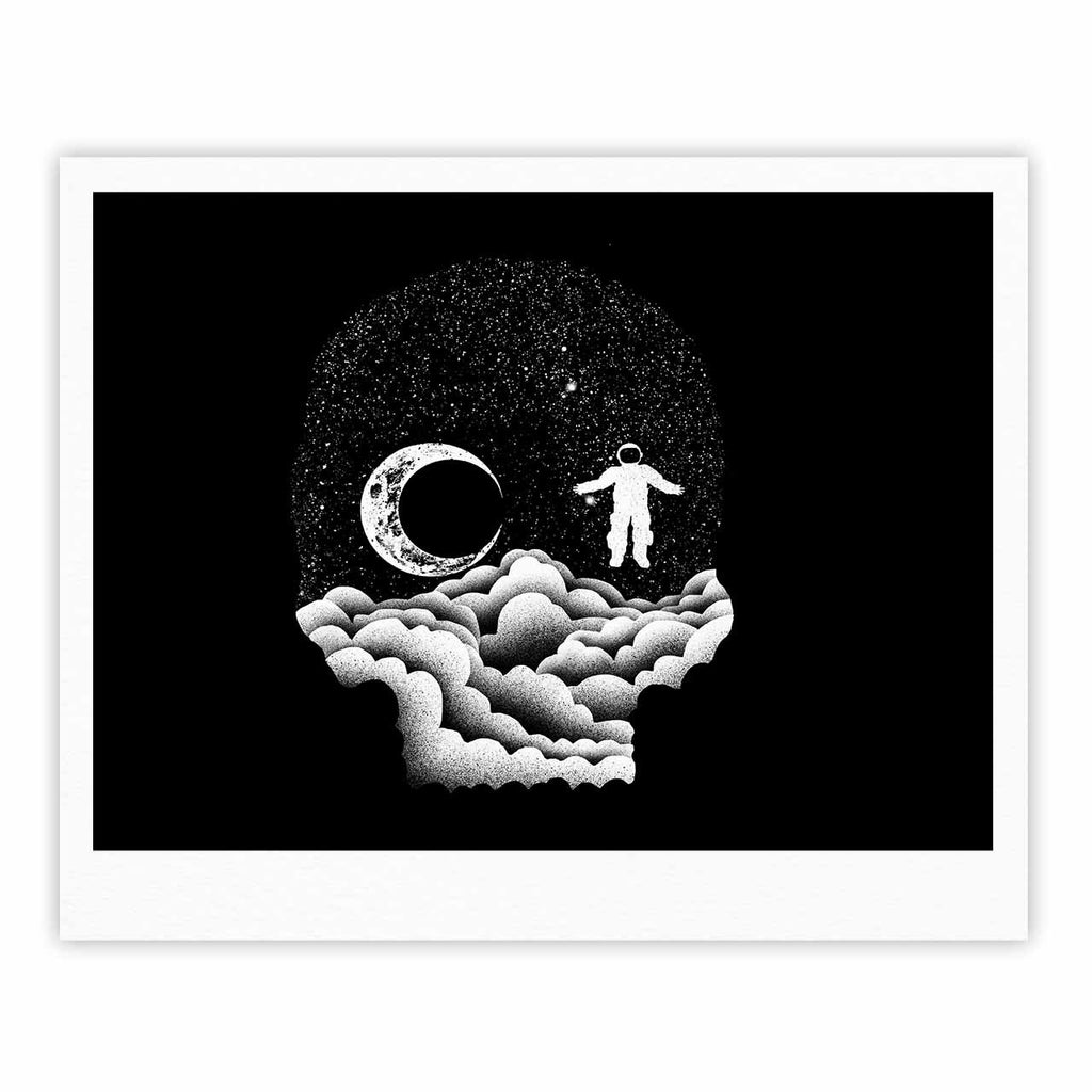 "BarmalisiRTB ""Space Skull"" Black White Illustration Fine Art Gallery Print"