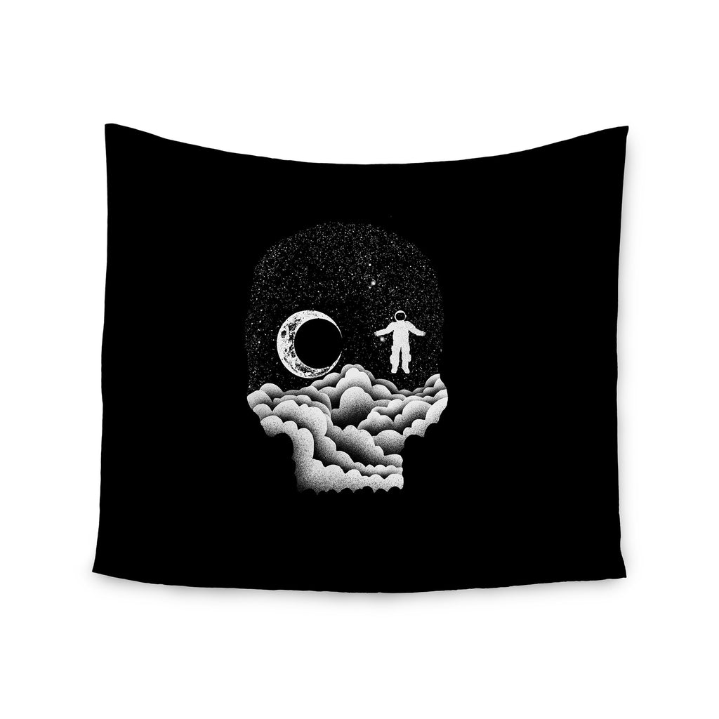 "BarmalisiRTB ""Space Skull"" Black White Illustration Wall Tapestry - KESS InHouse  - 1"