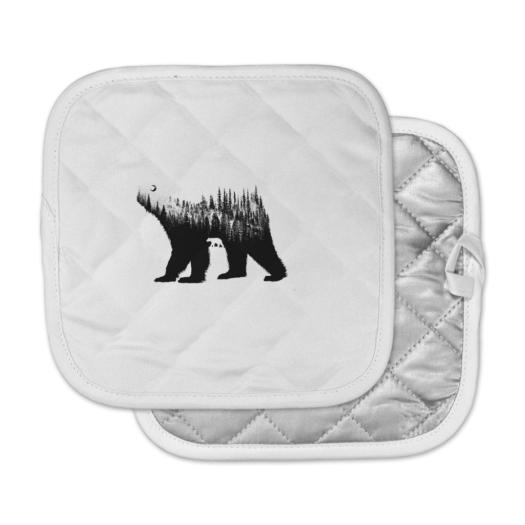 "BarmalisiRTB ""The Bear"" Black White Illustration Pot Holder"