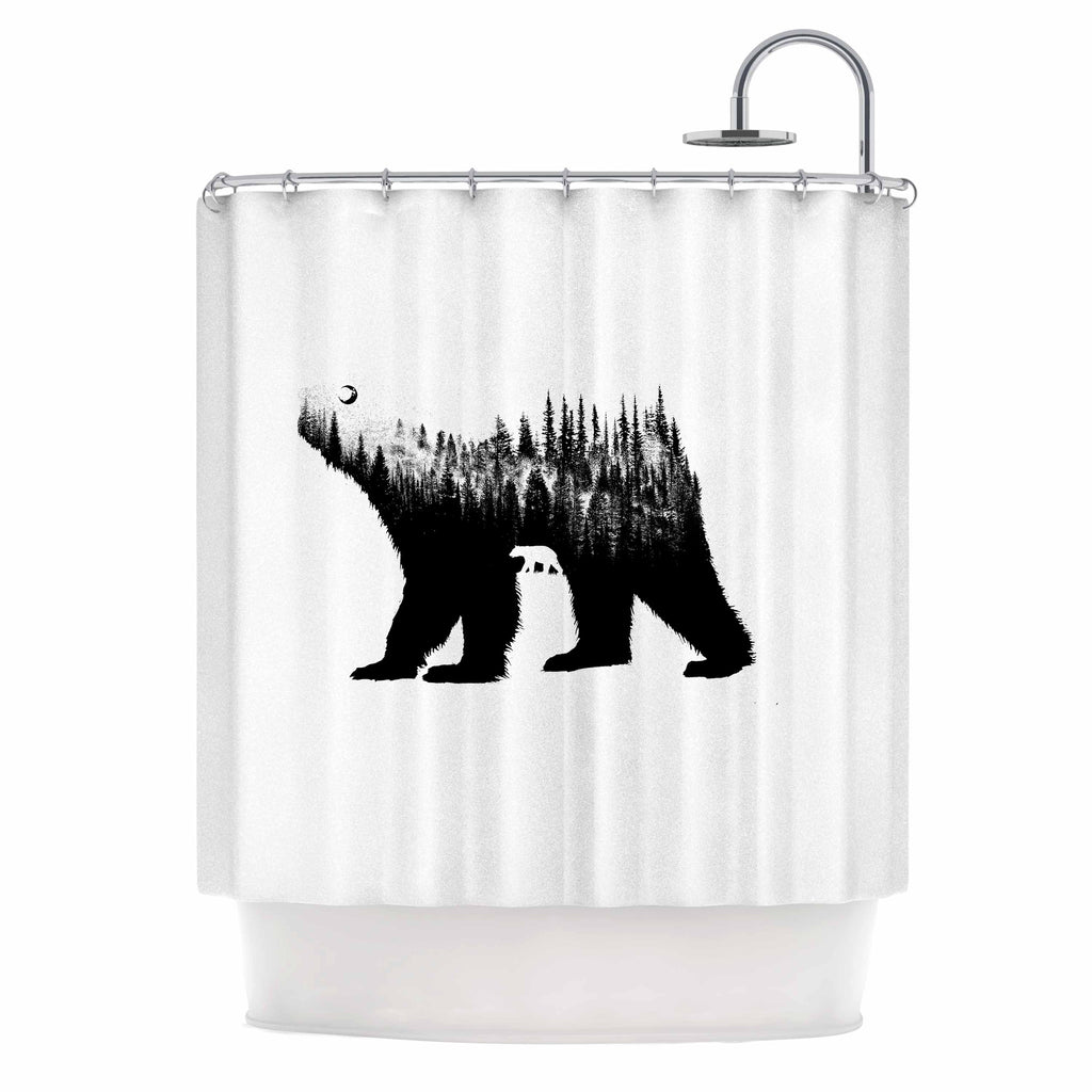 BarmalisiRTB The Bear Black White Illustration Shower Curtain