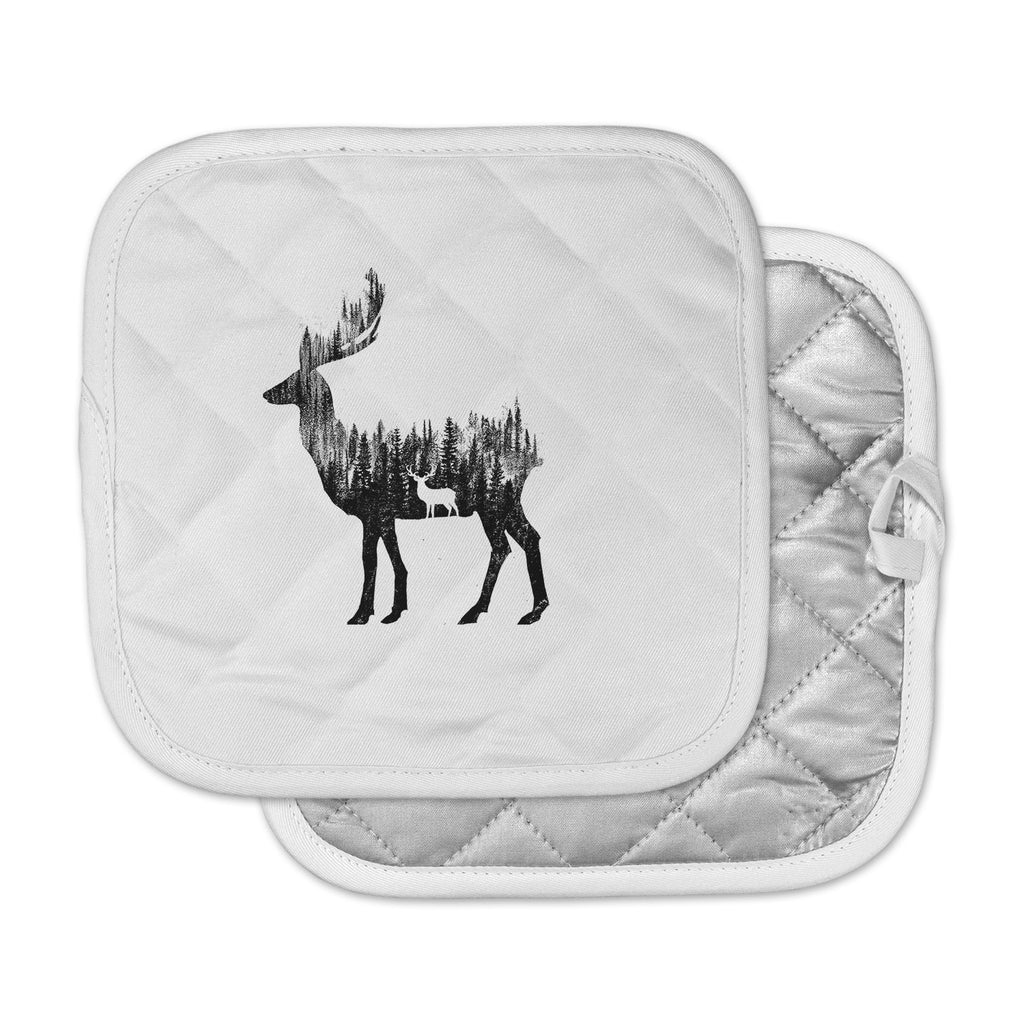 "BarmalisiRTB ""The Deer"" Black White Digital Pot Holder"