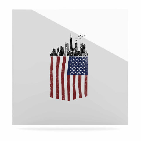 "BarmalisiRTB ""American City"" Black White Digital Luxe Square Panel"