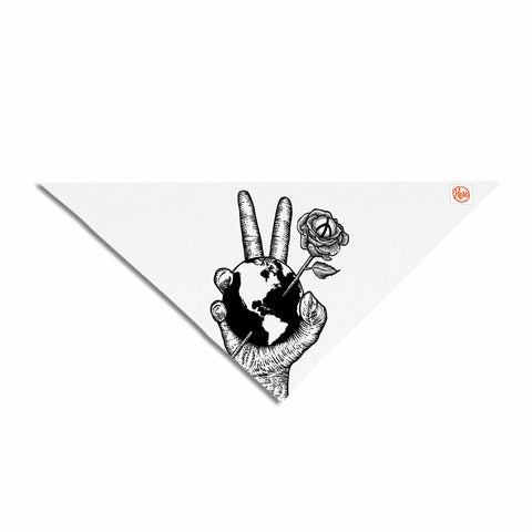 "BarmalisiRTB ""Peace World"" Black White Digital Pet Bandana"