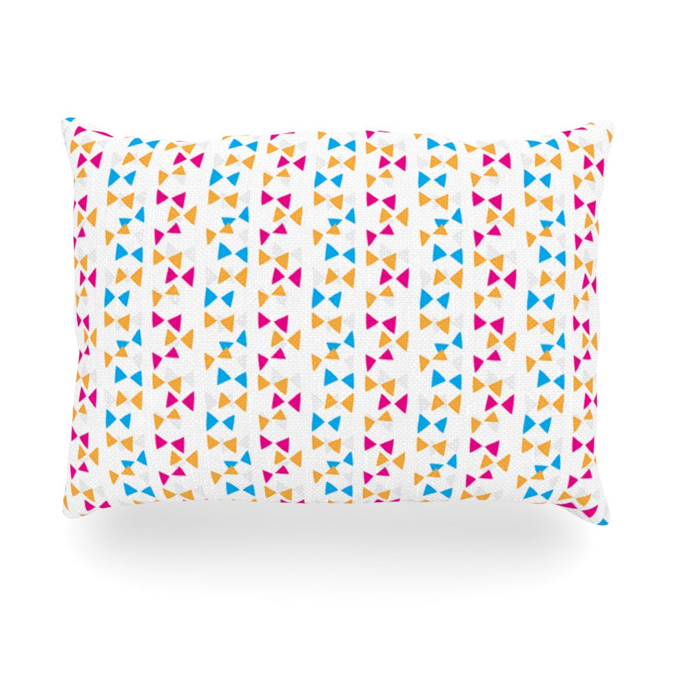 "Apple Kaur Designs ""Let's Celebrate"" Orange Pink Oblong Pillow - KESS InHouse"