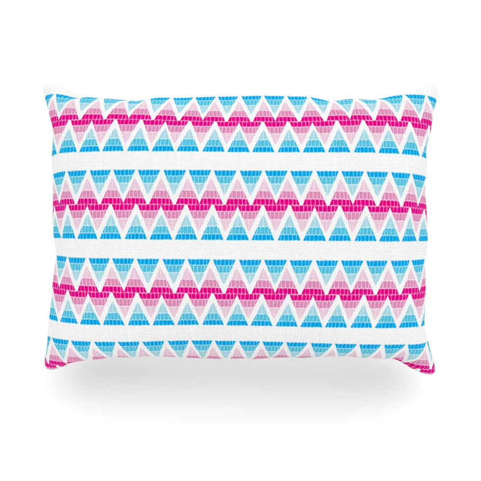 "Apple Kaur Designs ""Swimming Pool Tiles"" Blue Pink Oblong Pillow - KESS InHouse"